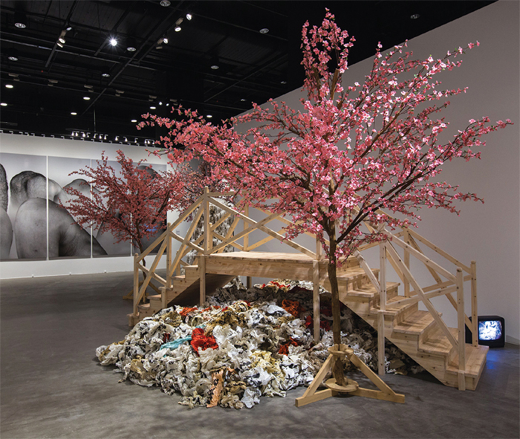 "View of ""M+ Sigg Collection: Four Decades of Chinese Contemporary Art,"" 2016. From left: Liu Wei, It Looks Like a Landscape, 2004; Yangjiang Group, Calligraphy Peach Blossom Garden, 2004."