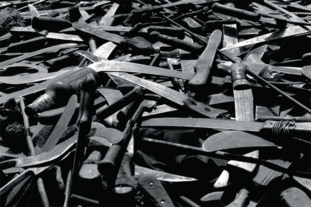 Machetes and knives found near the border of Rwanda, Goma, Zaire, 1994. Photo: Gilles Peress. © Gilles Peress/Magnum Photos.