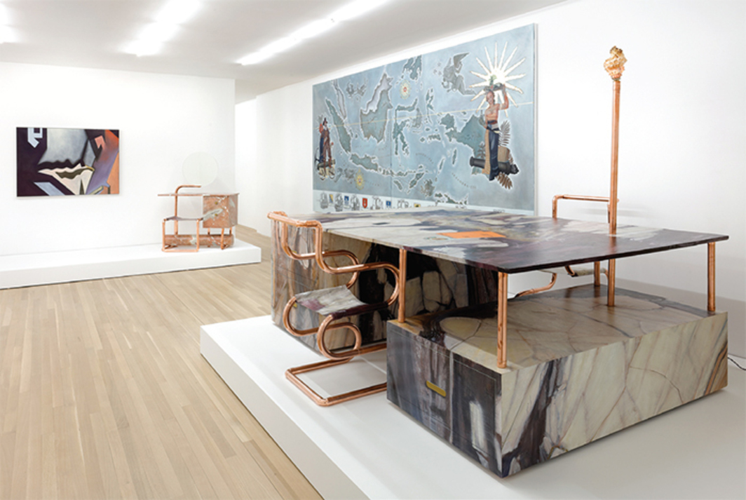 "View of ""Lucy McKenzie,"" 2016. From left: Breche Abstract, 2015; Quodlibet LXI (Cerfontaine Coiffeuse), 2015; Map of the Dutch East Indies, 2015; Quodlibet LX (Violet Breche Desk), 2015. Photo: Thomas Müller."