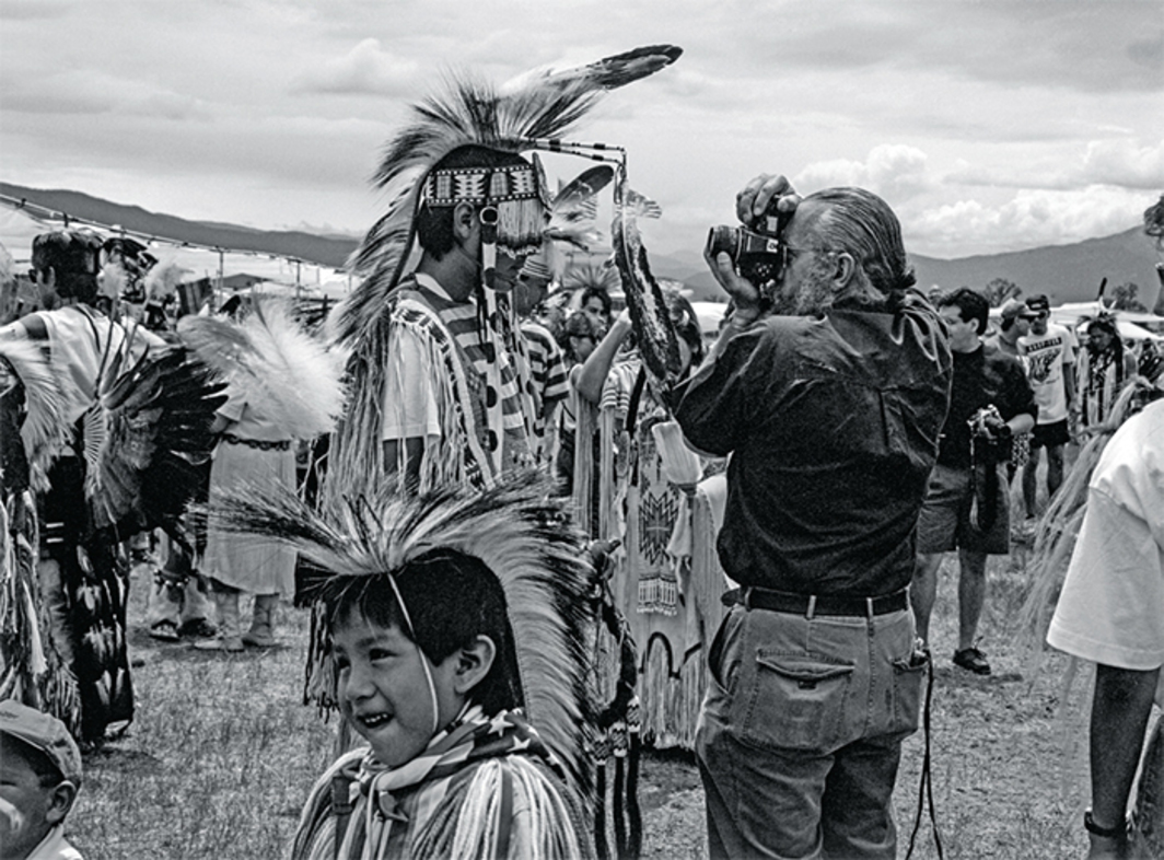 "Zig Jackson, Camera in Face, Taos, New Mexico, 1992, ink-jet print, 14 1/4 × 19 1/2"". From the series, ""Indian Photographing Tourist Photographing Indian,"" 1991–92."