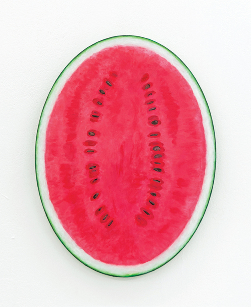 "Adam Cruces, Watermelon, 2016, acrylic on canvas, 15 3/4 × 11 3/4""."