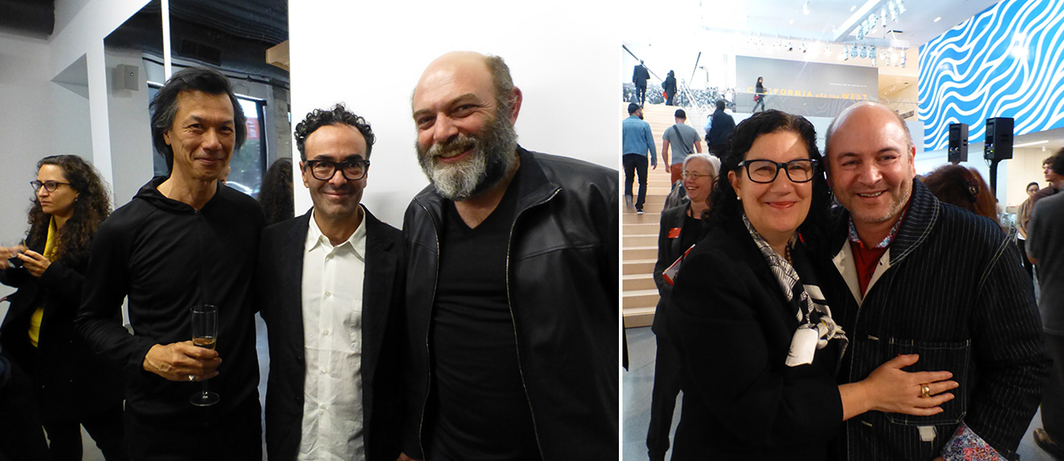 Left: Artist Philippe Eustachon, dealer José Kuri, and artist Carlos Amorales at Kadist Art Foundation. Right: SF MoMA deputy director Ruth Berson with Snøhetta's Craig Dykers.