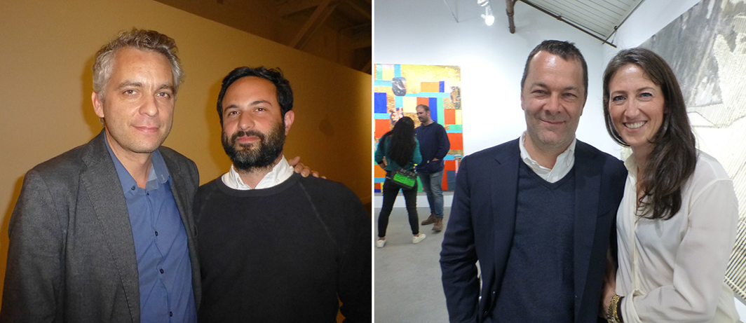 Left: Curators Anthony Huberman and Jordan Stein. Right: Dealers Andrew Kreps and Chiara Repetto.