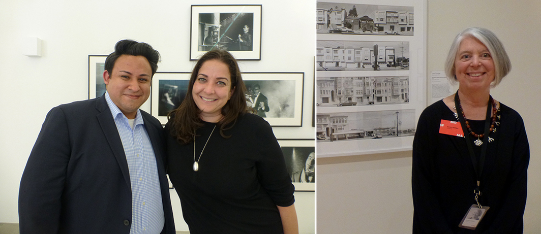Left: The Mistake Room's Cesar Garcia with Artadia's Carolyn Ramo. Right: SF MoMA curator Sandy Phillips.