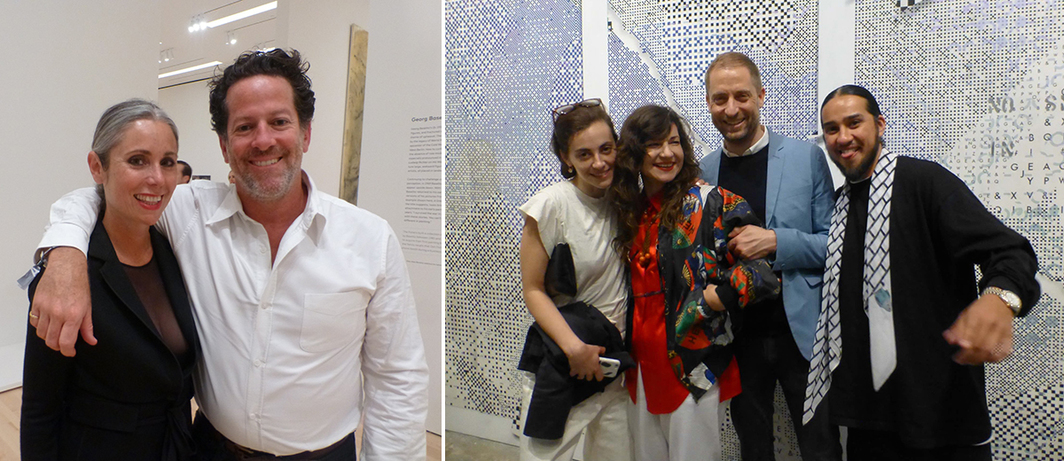 Left: Maria Blum with dealer Tim Blum. Right: Marta Fontolan, artist Frances Stark, MoMA chief curator Stuart Comer, and artist Bobby Jesus at the Wattis.