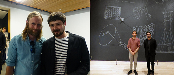 Left: Artists Chris Sollars and Pete Belkin. Right: Artist Jürg Lehni with SF MoMA curator Joseph Becker and Viktor, the robotic chalk-drawing machine.