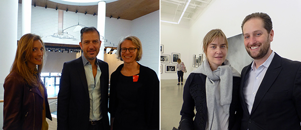 Left: Calder Foundation's Lily Lyons and Sandy Rower with SF MoMA curator Caitlin Haskell. Right: Salon 94's Fabienne Stephan with Art Basel Miami Beach director Noah Horowitz.