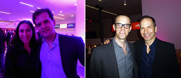 Left: Patrons Brian Saliman and Larry Mathews at SF MoMA ArtBash. Right: Dealer Michelle Maccarone with Ales Ortuzar.