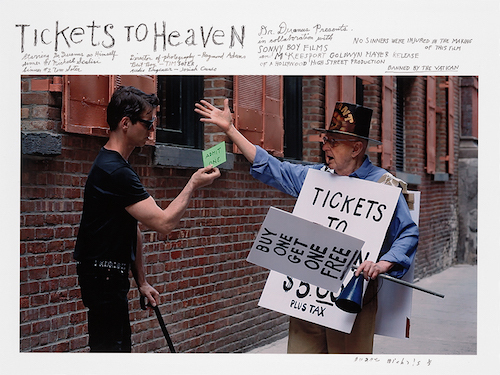 "Duane Michals, Tickets to Heaven, 2016, chromogenic print with hand-applied text, mounted on board, 13 x 22""."