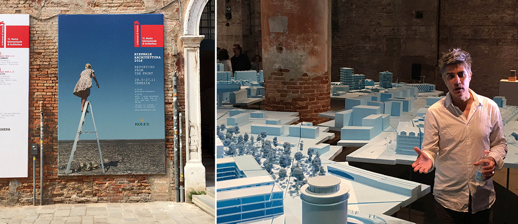 Left: Signage for the fifteenth International Architecture Exhibition of the Venice Biennale. Right: Venice Architecture Biennale curator Alejandro Aravena. (All photos: David Huber)