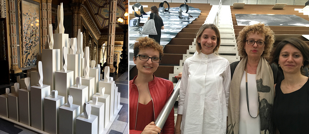 Left: View of Zaha Hadid models at Palazzo Franchetti. Right: Serpentine Gallery public programs curators Lucia Pietroiusti and Claude Adjil, Castello di Rivoli director Carolyn Christov-Bakargiev, and Istanbul Biennial director Bige Örer.