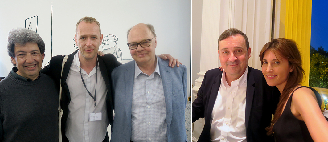 Left: Dealer Paul Schimmel, artist and Manifesta 11 curator Christian Jankowski, and dealer Nicholas Logsdail. Right: Outgoing ICA director Gregor Muir and collector Kasia Kulczyk. (All photos: Linda Yablonsky)
