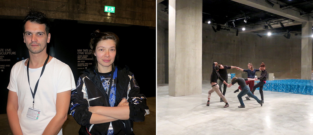 Left: Artists Manuel Pelmus and Alexandra Pirici. Right: Dancers interpreting Matisse's The Dance for performance by artists Alexandra Pirici and Manuel Pelmus at Tate Modern.