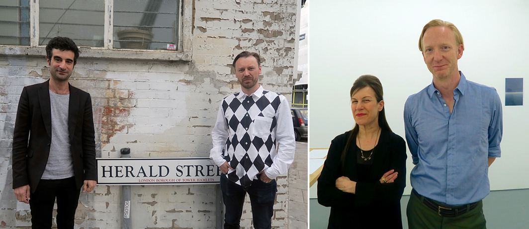 Left: Dealers Nicky Verber and Ash L'ange. Right: Dealer Maureen Paley and collector Charles Asprey.