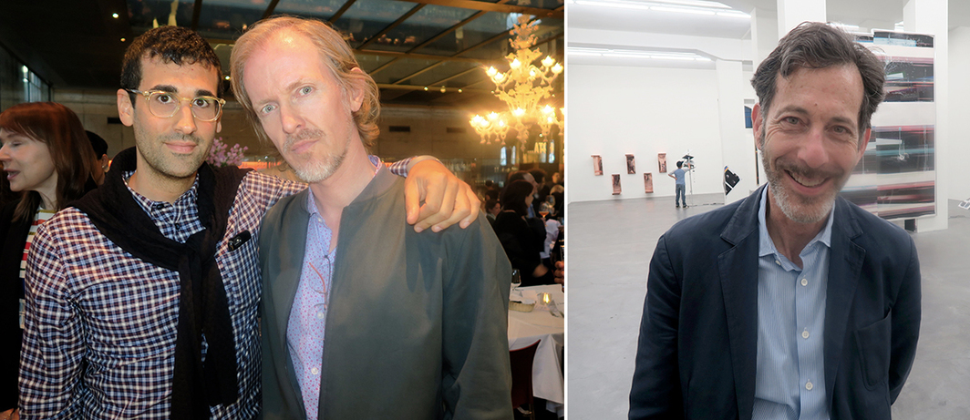 Left: Dealer David Kordansky and artist Torbjørn Rødland. Right: Hayward Gallery director Ralph Rugoff.