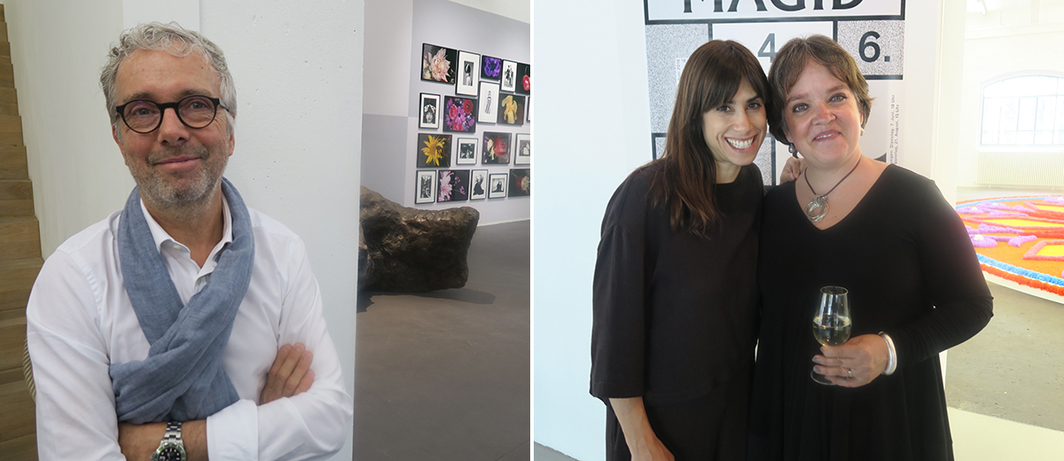 Left: Dealer Bob van Orsouw. Right: Artist Jill Magid with Lorenza Barragán.