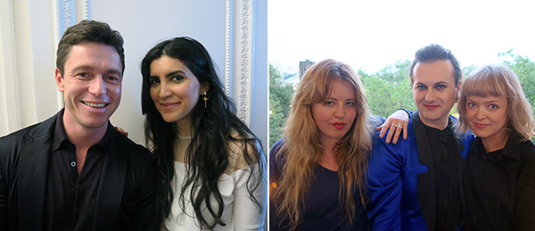 Left: Dealer James Lindon and Leila Maleki. Right: Artist Philippa Horan, Fiorucci Art Trust curator Milovan Farranato, and artist Celia Hempton.
