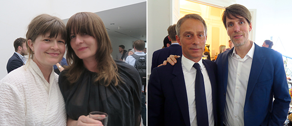 Left: Dealer Kate McGarry and artist Goshka Macuga. Right: Kunsthalle Basel president Martine Hatebur and dealer Michel Ziegler.