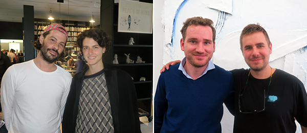Left: Dealers Fernando Mesta and Jelena Kristic. Right: Dealer Matthias von Stenglin and artist Andrew Dadson.