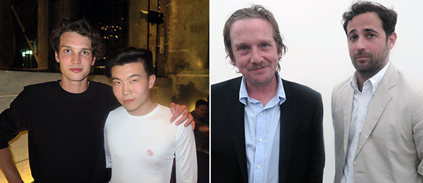 Left: Dylan Brant and Michael Xufu Huang. Right: Artist Joe Bradley and dealer Sam Orlofsky.