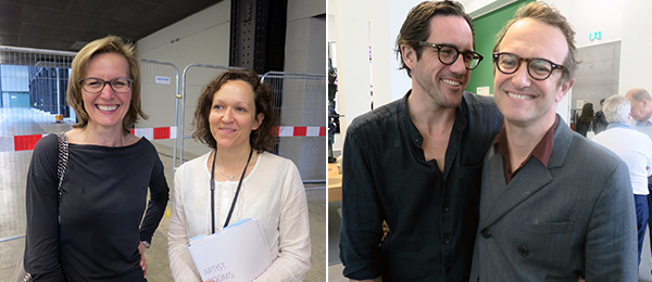 Left: Museum der Moderne Salzburg director Sabine Breitwasser and Tate Modern international art curator Juliet Bingham. Right: Artist Alexander May and architect Massimiliano Locatelli.