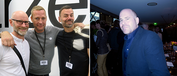 Left: Public Art Fund director Nicholas Baume with artists Michael Elmgreen and Ingar Dragset. Right: Art Basel director Marc Spiegler.