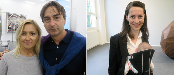 Left: MoMA curator Roxana Marcoci and dealer Cristian Alexa. Right: Frieze Art Fair director Victoria Siddall.