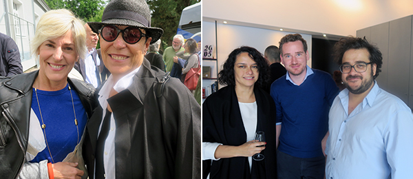 Left: Art Basel Miami's VIP rep Stephanie Reed and collector Mera Rubell. Right: Dealer Pamela Echeverria and Matthias von Stenglin with Kunst Halle Sankt Gallen director Giovanni Carmine.