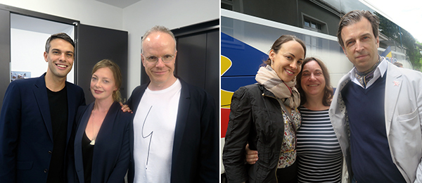 Left: Swiss Institute director Simon Castets with Swiss Institute curator Laura McLean-Ferris and Serpentine Gallery curator Hans Ulrich Obrist. Right: Collector Eva Fernandez Ruiz, artist Aleksandra Mir, and Alain Servais.