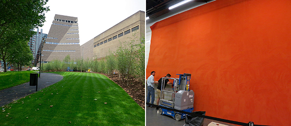 Left: A view of the new Switch House at Tate Modern. Right: Tate Modern art handlers installing a Rudolf Stingel.