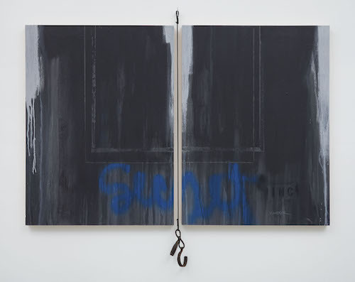 "Larry Walker, Secret # II, Wall Series (Extension), 2008, acrylic and latex on board, rope, slave shackle, 69 x 74''. From the ""Wall Series,"" ca. 1980s– ."