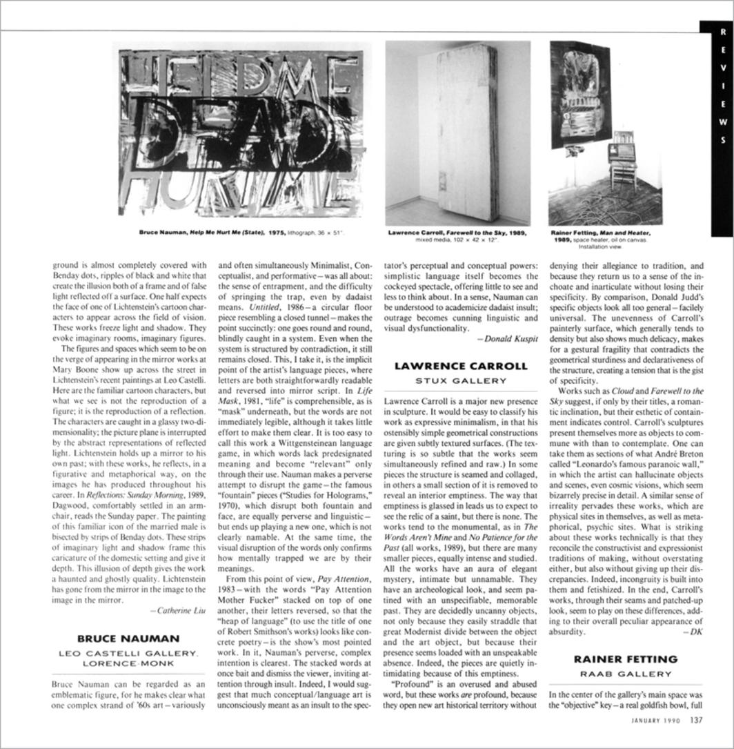 Donald Kuspit on Lawrence Carroll - Artforum International