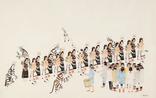 Awa Tsireh, Untitled (Corn Dance), 1922–26, watercolor and pencil on paper, 22 1/2 × 34''.