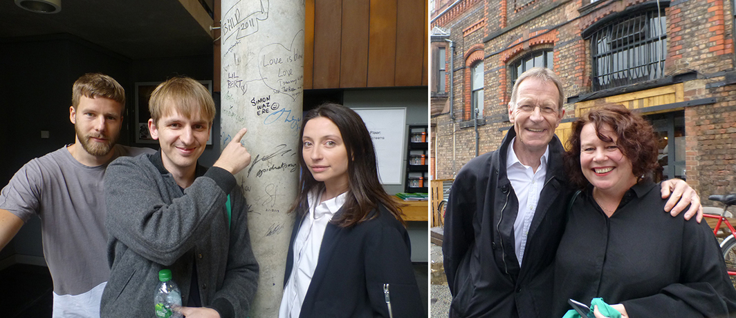 Left: Artists Oliver Laric and Lucy Beech with Tanya Leighton's Simon Gowing at FACT. Right: Tate Director Nicholas Serota with Liverpool Biennial director Sally Tallant outside Cains Brewery. (Except where noted, all photos: Kate Sutton)
