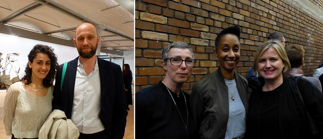 Left: Artists Jumana Manna and Koenraad Dedobbeleer at Tate Liverpool. Right: Cubitt's Dimity Nicholls, Iniva director Melanie Keen, and Liverpool Biennial's Julie Lomax.
