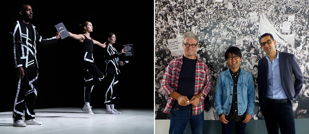 Left: Michael Portnoy's Relational Stalinism: The Musical. (Photo: Robert Battersby) Right: Photographer Dave Sinclair with artist Koki Tanaka and Biennial curator Dominic Willsdon.