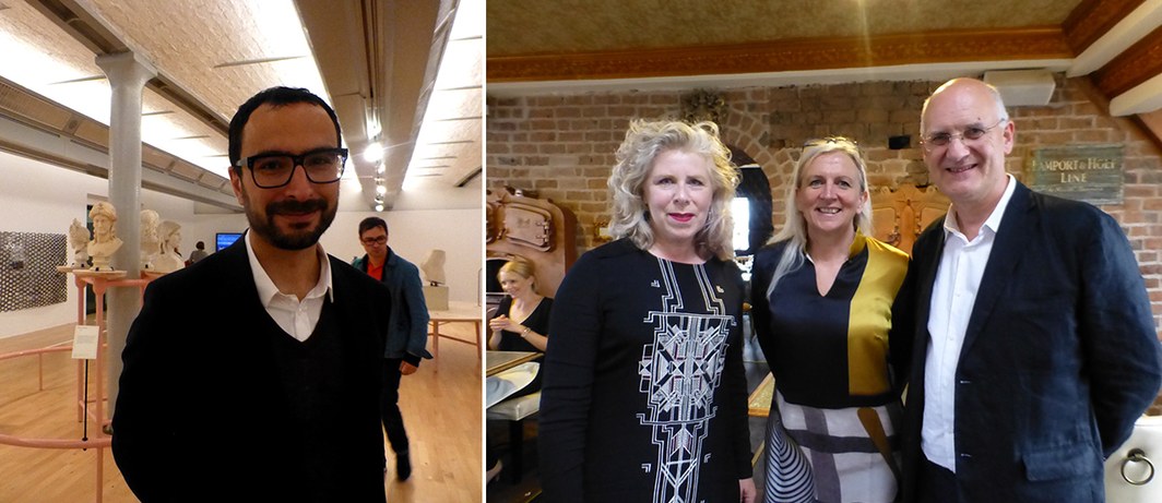Left: Tate Liverpool director and Biennial curator Francesco Manacorda. Right: Curators Kathleen Soriano, Sarah Fisher, and Lewis Biggs.