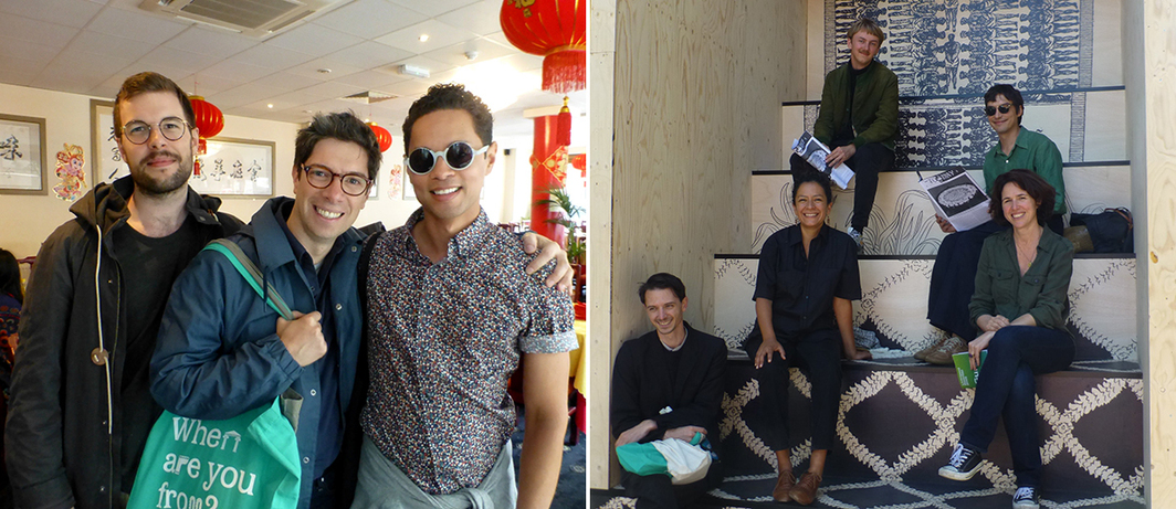 Left: Gaswork's Robert Leckie and Alessio Antoniolli with Delfina Foundation's Aaron Cezar at Mr Chilli. Right: Curators Grégory Castéra and Mels Evers with artist Mariana Castillo Deball, Kurimanzutto's Malena Bach, and Manuel Raeder in Castillo Deball's To-day 9th of July 2016.