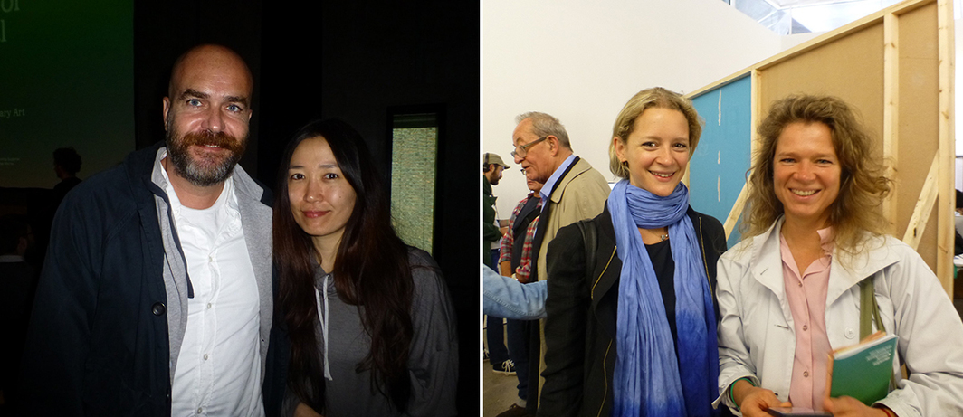 Left: Artists Andreas Angelidakis and Yin-Ju Chen. Right: Witte de With's Natasha Hoare with Maaike Gouwenburg.