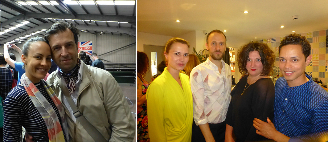 Left: Collector Alain Servais with Eva Fernandez Ruiz at Cains Brewery. Right: Tate Liverpool's Kasia Redzisz, artist Michael Portnoy, biennial curator Polly Brannan, and Delfina Foundation's Aaron Cezar