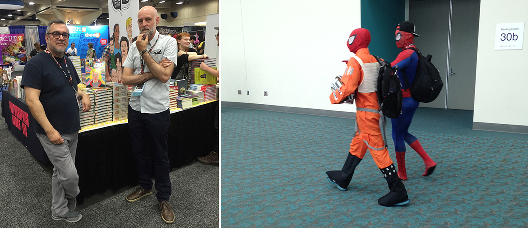 Left: Artists Gilbert Hernandez and Daniel Clowes. (Photo: Fantagraphics) Right: Spider-Men. (Photo: Hillary Chute)