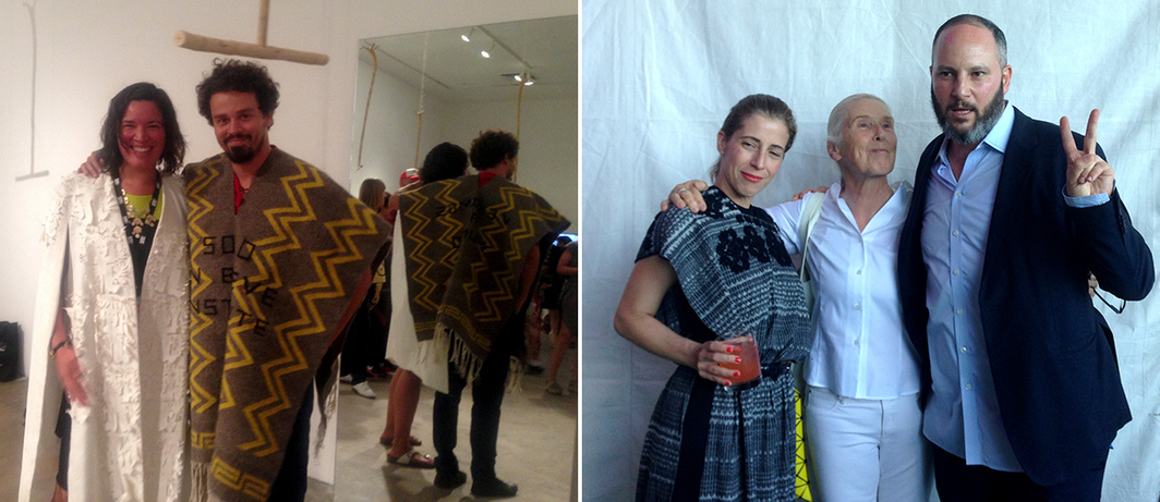 Left: Artists Maria Hupfield and Jonathas de Andrade wearing Carla Fernandez ponchos. Right: Curator Kiki Mazzuchelli, artist Harmony Hammond, and curator Pablo León de la Barra,. (All photos: Chelsea Weathers)