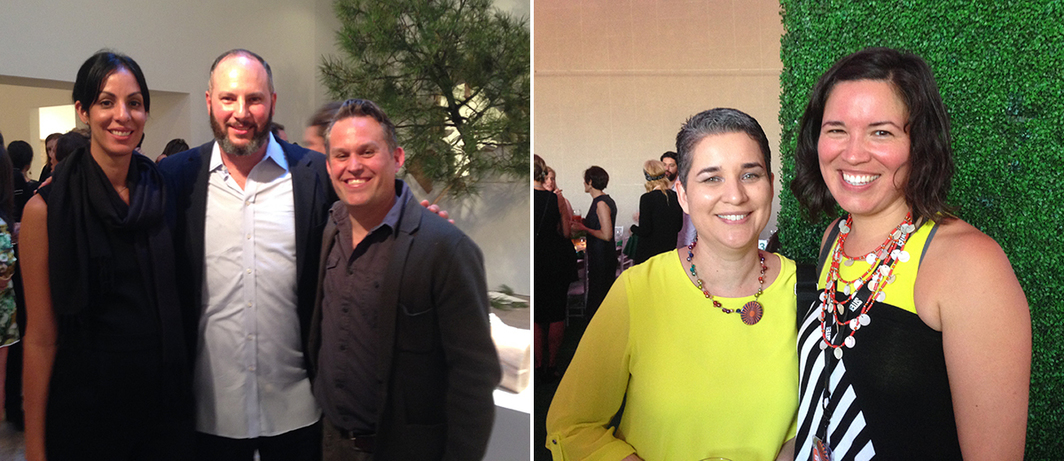 Left: Curators Carla Acevedo-Yates, Pablo León de la Barra, and Noah Simblist. Right: Curator Kathleen Ash-Milby and Maria Hupfield.