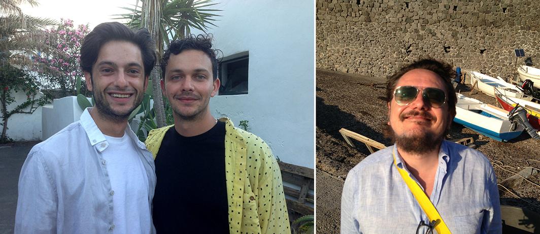 Left: Artist Atalay Yavuz and Alexander Ferrando of Metro Pictures. Right: Andrea Viliani, director of MADRE.