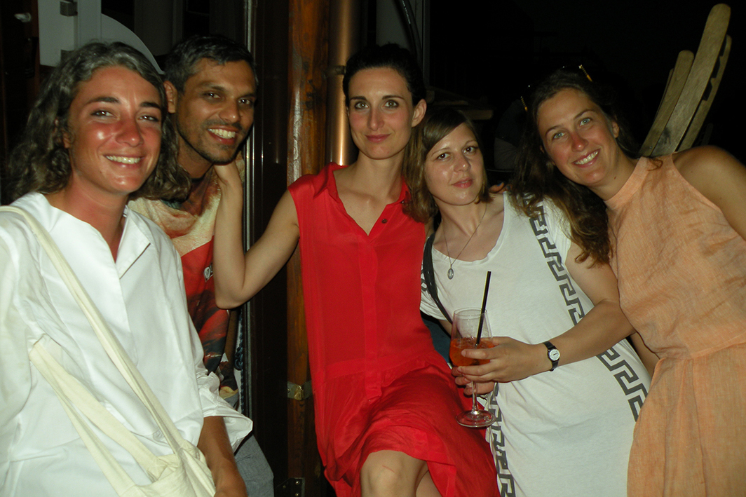 Photographer Giovanna Silva with artists Haroon Mirza, Gaia Fugazza, and Lucy McKenzie and curator Chloe Perrone.