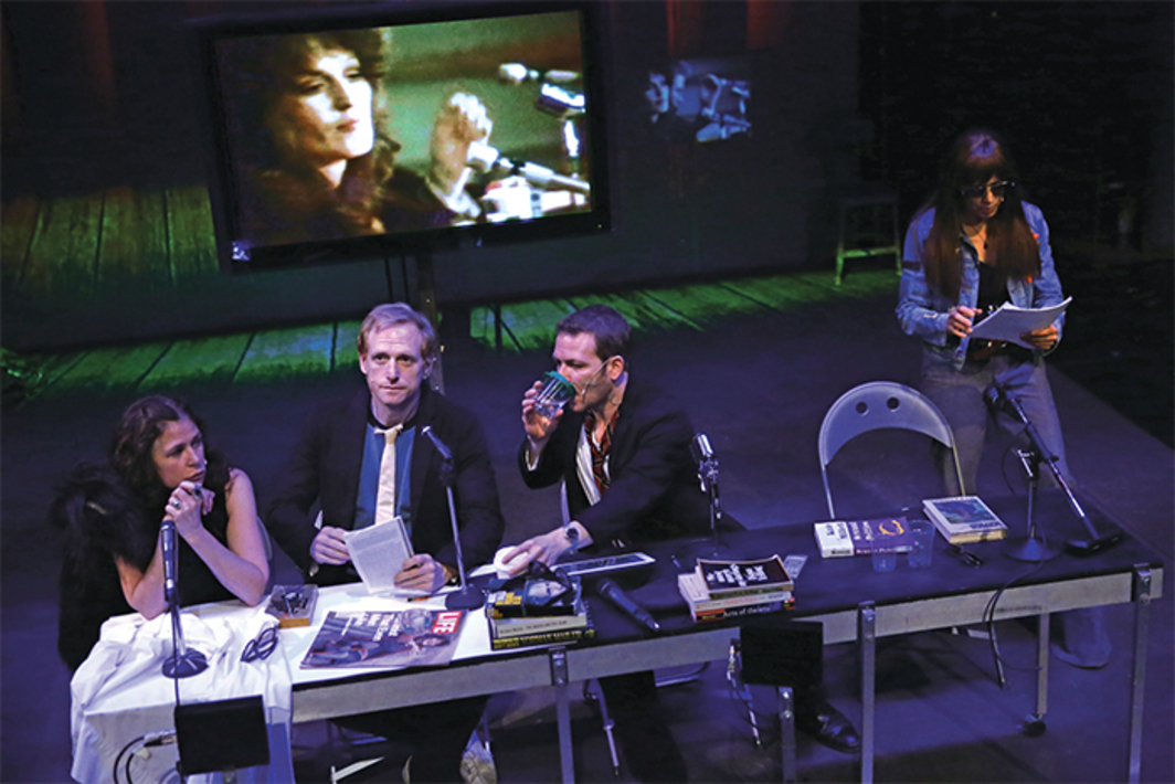 The Wooster Group, The Town Hall Affair, 2016. Performance view, the Performing Garage, New York, June 9, 2016. From left: Germaine Greer (Maura Tierney), Norman Mailer (Scott Shepherd), Norman Mailer (Ari Fliakos), Jill Johnston (Kate Valk). Photo: Paula Court.