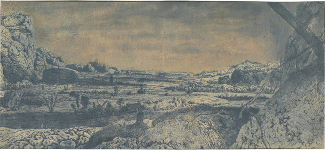 "Hercules Segers, Mountain Valley with Fenced Fields, ca. 1615–30, etching, drypoint, oil, and watercolor on paper, 8 7/8 × 19 1/4""."