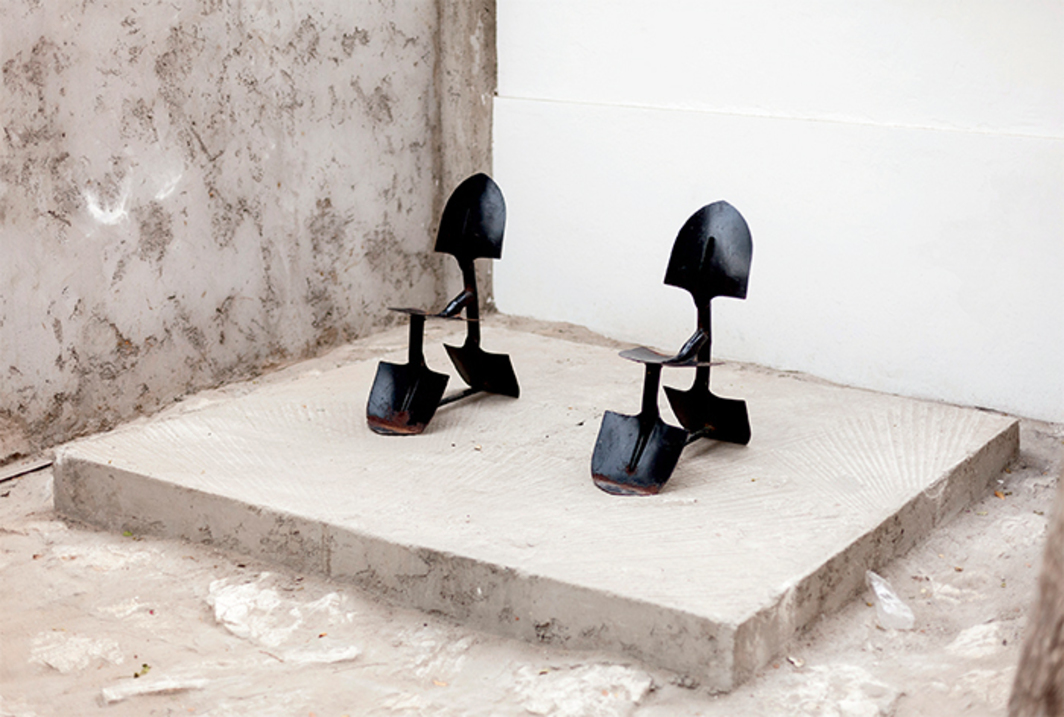 Issa Samb, untitled, 2010, welded shovels. Installation view, RAW Material Company, Zone B, Dakar. Photo: Sophie Thun.