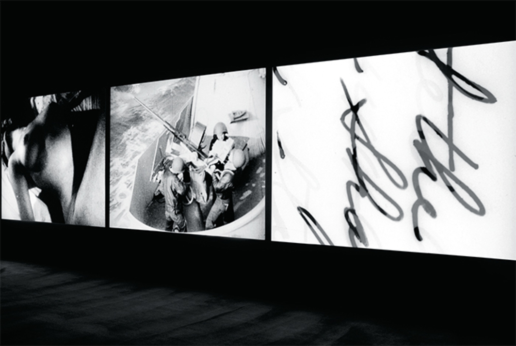 Bruce Conner, Three Screen Ray, 2006, three-channel digital video projection. Installation view, Museum of Modern Art, New York, 2016. Photo: Martin Seck. © Estate of Bruce Conner.