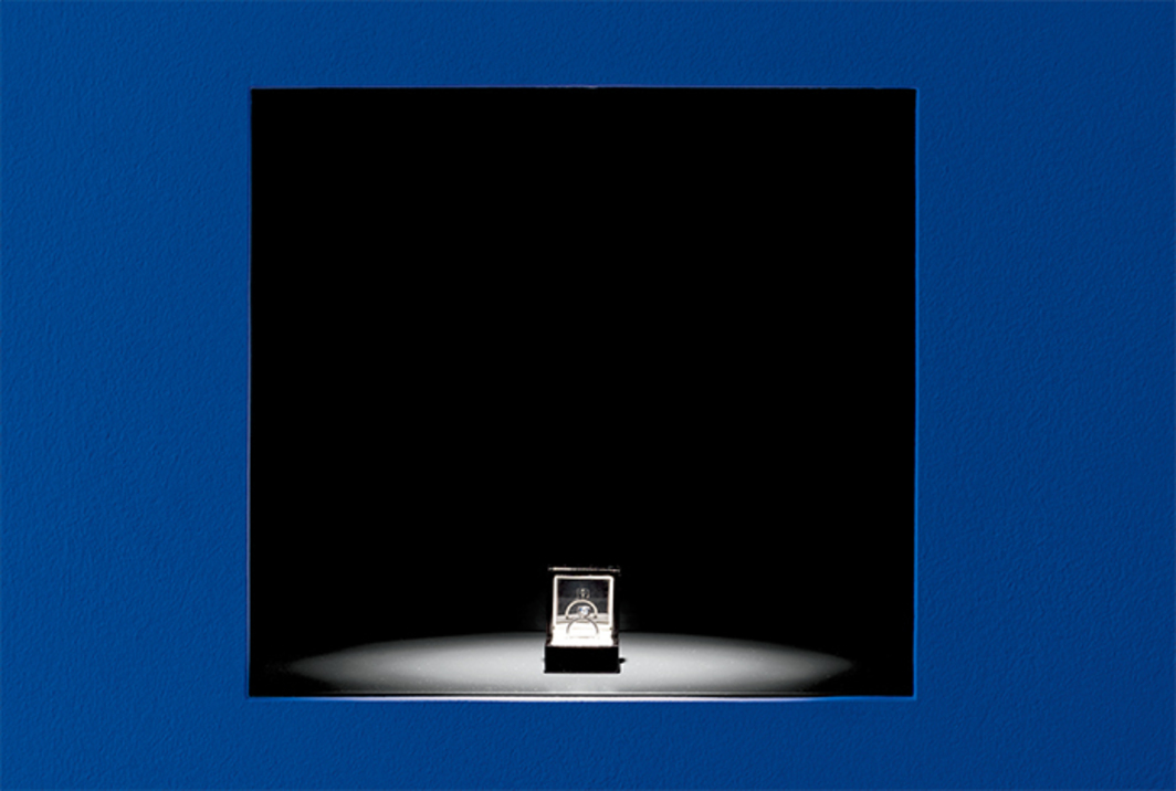 Jill Magid, The Proposal, 2016, 2.02-carat blue uncut diamond with microlaser inscription, silver ring setting designed by Anndra Neen, ring box, documents. Installation view, Kunst Halle Sankt Gallen, Switzerland. Photo: Stefan Jaeggi.